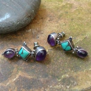 Sterling turquoise and Amethyst dangle earrings